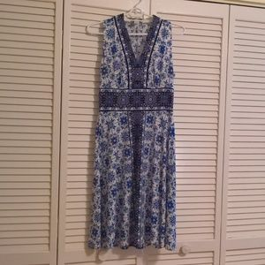 London Times Blue and White Floral Dress